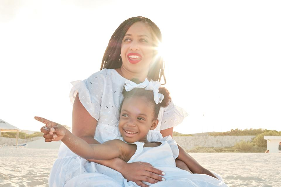 Single Black Motherhood blogger Kim Williams has been juggling work, school and her daughter McKinley's remote learning on her own during the pandemic. (Photo: Courtesy of Kim Williams/Miguel Rojas)