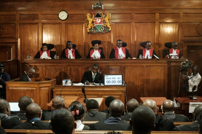 File picture of Kenya's Supreme Court judges at a hearing last November into a complaint over the electoral commission's handling of the repeat elections. Philomena Mwilu is third from the left