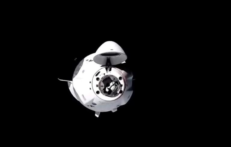 """The spacecraft, named """"Resilience,"""" docked autonomously with the space station some 260 miles (400 kilometers) above the Midwestern US state of Ohio"""