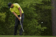 Tony Finau hits on the 11th hole during the second round of the Masters golf tournament on Friday, April 9, 2021, in Augusta, Ga. (AP Photo/Charlie Riedel)