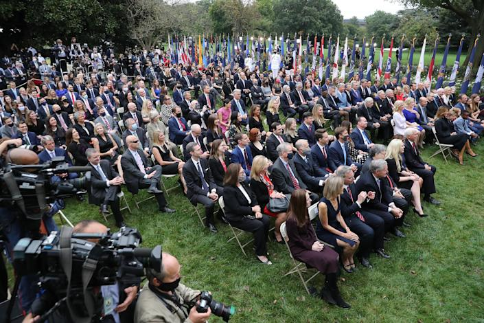 Chairs at the September 26 nomination of Judge Amy Coney Barrett to the Supreme Court in the Rose Garden at the White House were not spaced six feet apart, and many attendees did not wear masks. / Credit: Chip Somodevilla/Getty Images