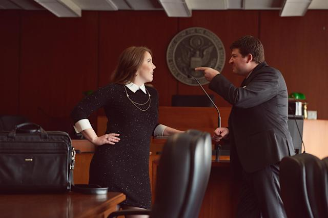 Their photo shoot involved a lot of courtroom role-playing. (Photo: Michael Novo Photography)