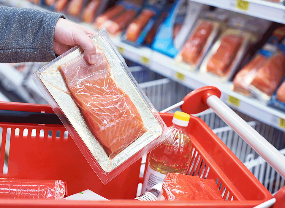 pre packaged salmon fillet placed in grocery cart