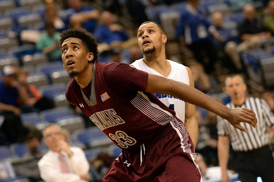 TERRE HAUTE, IN - FEBRUARY 17: Southern Illinois Salukis center Kavion Pippen (33) boxes out Indiana State Sycamores guard Brenton Scott (4) during the Missouri Valley Conference (MVC) college basketball game between the Southern Illinois Salukis and the Indiana State Sycamores on February 17, 2018, at the Hulman Center in Terre Haute, Indiana. (Photo by Michael Allio/Icon Sportswire via Getty Images)
