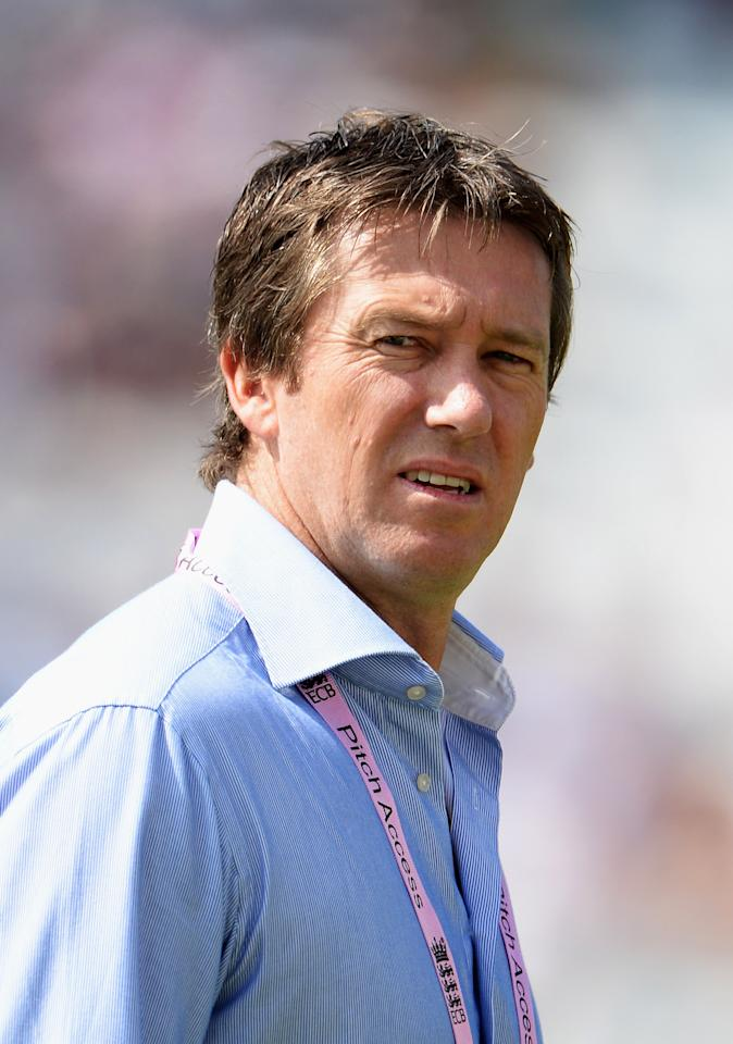 NOTTINGHAM, ENGLAND - JULY 11: Former Australian fast bowler Glenn McGrath looks on during day two of the 1st Investec Ashes Test match between England and Australia at Trent Bridge Cricket Ground on July 11, 2013 in Nottingham, England.  (Photo by Gareth Copley/Getty Images)