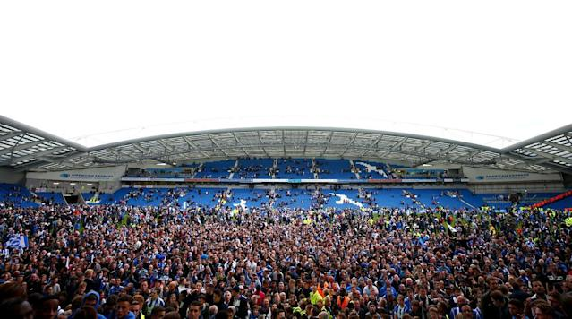 BRIGHTON, England (AP) Brighton will play in the top-flight of English soccer for the first time in 34 years after securing promotion to the Premier League on Monday.