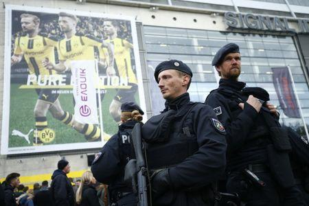 Soccer Football - Borussia Dortmund vs Eintracht Frankfurt - Bundesliga - Signal Iduna Park, Dortmund, Germany - 15/4/17 General view of security outside the stadium before the match Reuters / Ralph Orlowski Livepic