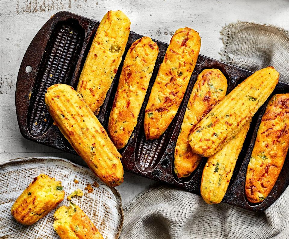 "<p><strong>Recipe: <a href=""https://www.southernliving.com/recipes/jalapeno-cornbread-sticks"" rel=""nofollow noopener"" target=""_blank"" data-ylk=""slk:Jalapeño Cornbread Sticks"" class=""link rapid-noclick-resp"">Jalapeño Cornbread Sticks</a> </strong></p> <p>Our readers love heirloom kitchen pieces, and we saw plenty of them rediscovering their cast-iron corn stick pans for this recipe specifically. It adds just the right amount of zing to classic cornbread, and the crust is perfectly crispy.</p>"