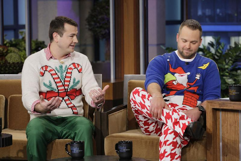 "Brian Miller, left, with co-founder Adam Paulson, on ""The Tonight Show"" in December 2011. (Photo: NBC via Getty Images)"
