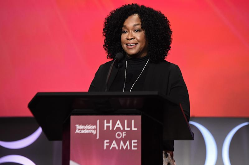 """Shonda Rhimes, executive producer of """"Grey's Anatomy,"""" """"Scandal"""" and """"How to Get Away with Murder,"""" introduces Hall of Fame inductee Cicely Tyson at the Television Academy Tuesday."""