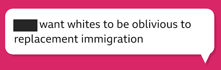 """A chat bubble that says """"[redacted] want whites to be oblivious to replacement immigration"""""""