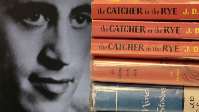 An image of Salinger next to his most famous book