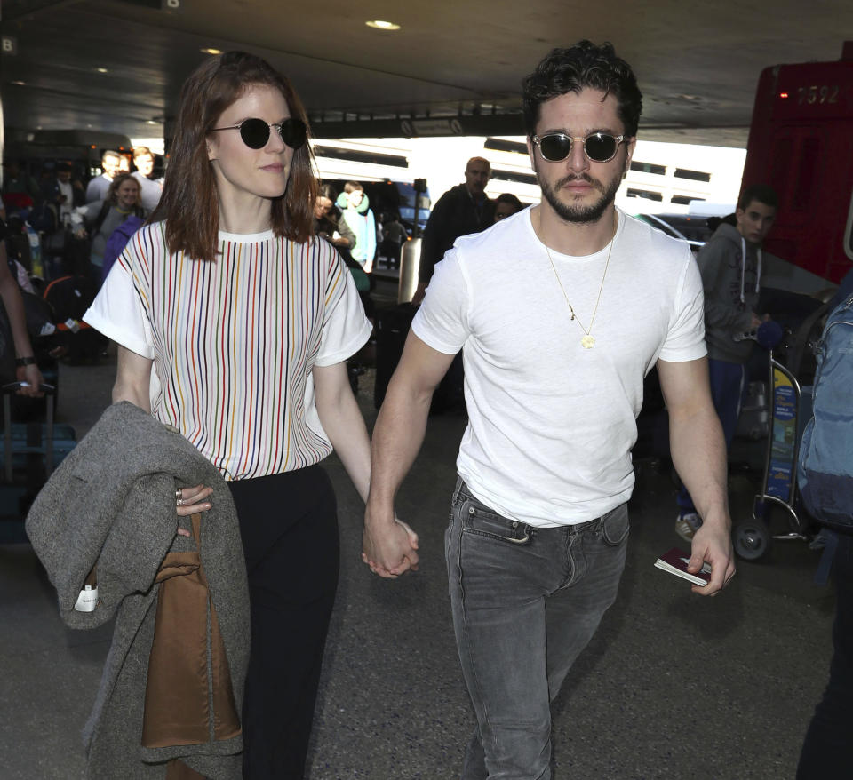 Photo by: zz/STRF/STAR MAX/IPx 2020 1/6/20 Rose Leslie and Kit Harington are seen at Los Angeles International Airport (LAX) on January 6, 2020 in Los Angeles, CA.