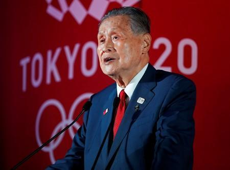 Yoshiro Mori delivers a speech one year out from the start of the summer games in Tokyo