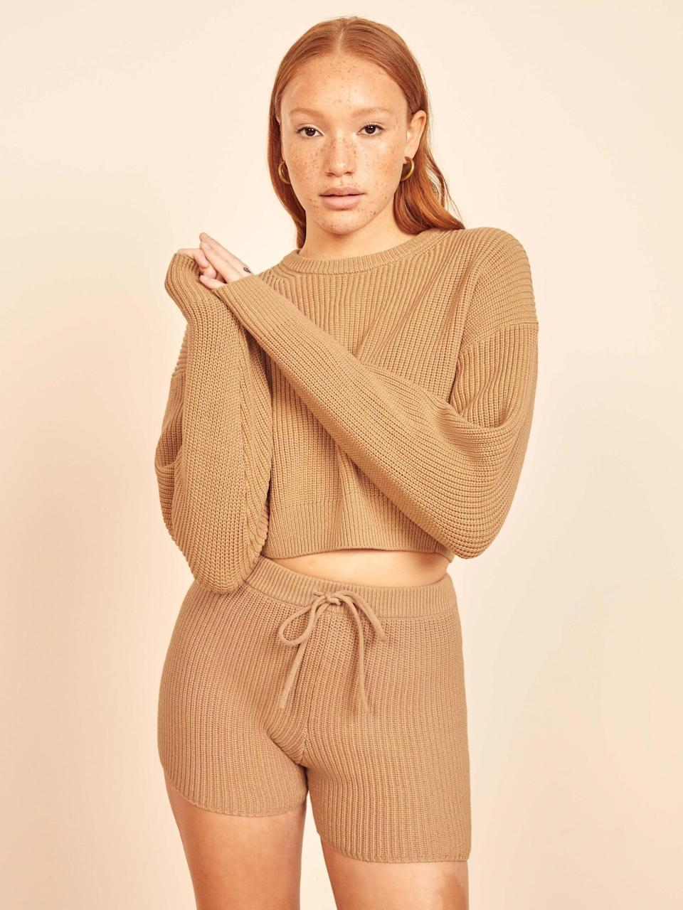 "<br><br><strong>Reformation</strong> Sami Cropped Sweater, $, available at <a href=""https://www.thereformation.com/products/sami-sweater?"" rel=""nofollow noopener"" target=""_blank"" data-ylk=""slk:Reformation"" class=""link rapid-noclick-resp"">Reformation</a>"