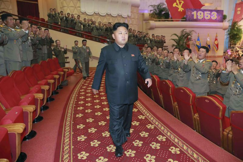 North Korean leader Kim arrives to watch a performance at the People's Theatre to celebrate the 61st anniversary of the victory in the great Fatherland Liberation War