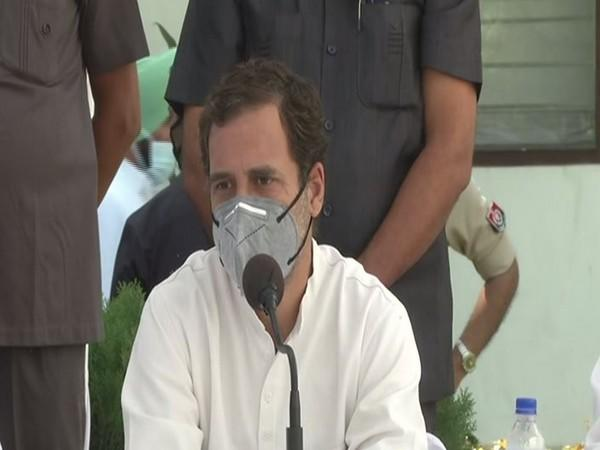 Congress leader Rahul Gandhi speaking at a press conference in Patiala, Punjab on Tuesday. Photo/ANI