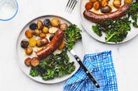 """When you've got less than half an hour to get dinner on the table, a sausage sheet-pan dinner will always be there for you. With crispy mini potatoes and hearty greens that are roasted in a sweet-tart mustard dressing, this one's an easy crowd-pleaser. <a href=""""https://www.epicurious.com/recipes/food/views/sausage-and-greens-sheet-pan-dinner?mbid=synd_yahoo_rss"""" rel=""""nofollow noopener"""" target=""""_blank"""" data-ylk=""""slk:See recipe."""" class=""""link rapid-noclick-resp"""">See recipe.</a>"""
