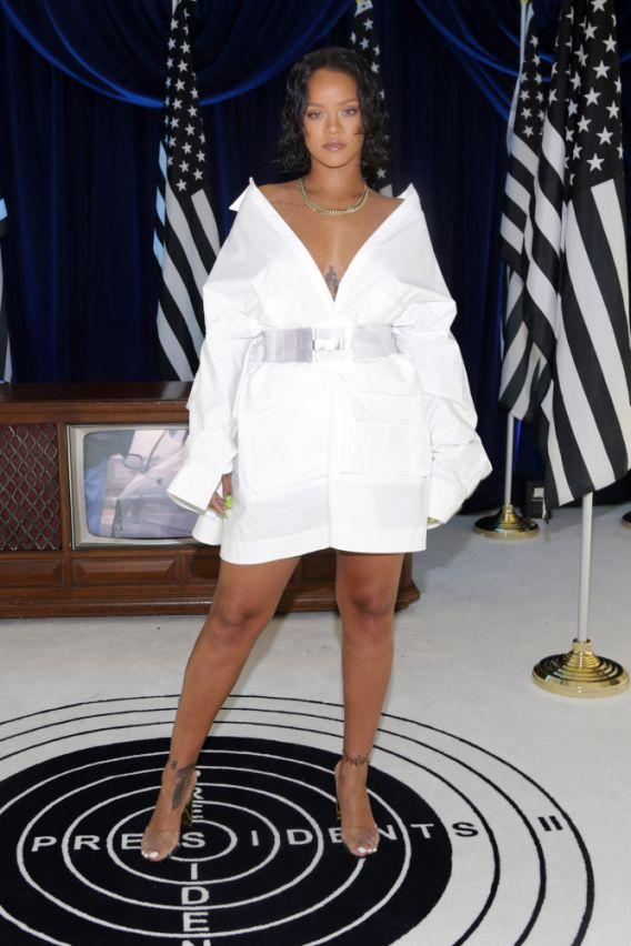 <p>Take cue from Badgalriri and raid your dad, brother or boyfriend's closet for an oversized white shirt that you can use as a dress. Clinch up your waist and give it some shape with an obi belt. Wear high heels to show off your legs. </p>