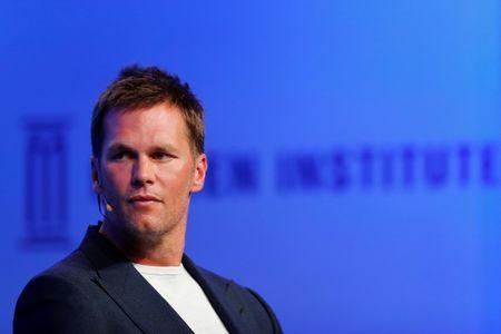 Tom Brady, Quarterback, New England Patriots, and Founder of TB12, speaks at the Milken Institute 21st Global Conference in Beverly Hills, California, U.S., April 30, 2018. REUTERS/Mike Blake