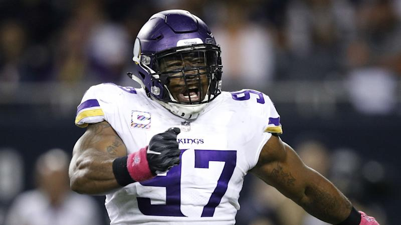 f789cefe3 Vikings  Everson Griffen asks fans to help name his baby during  Thanksgiving game
