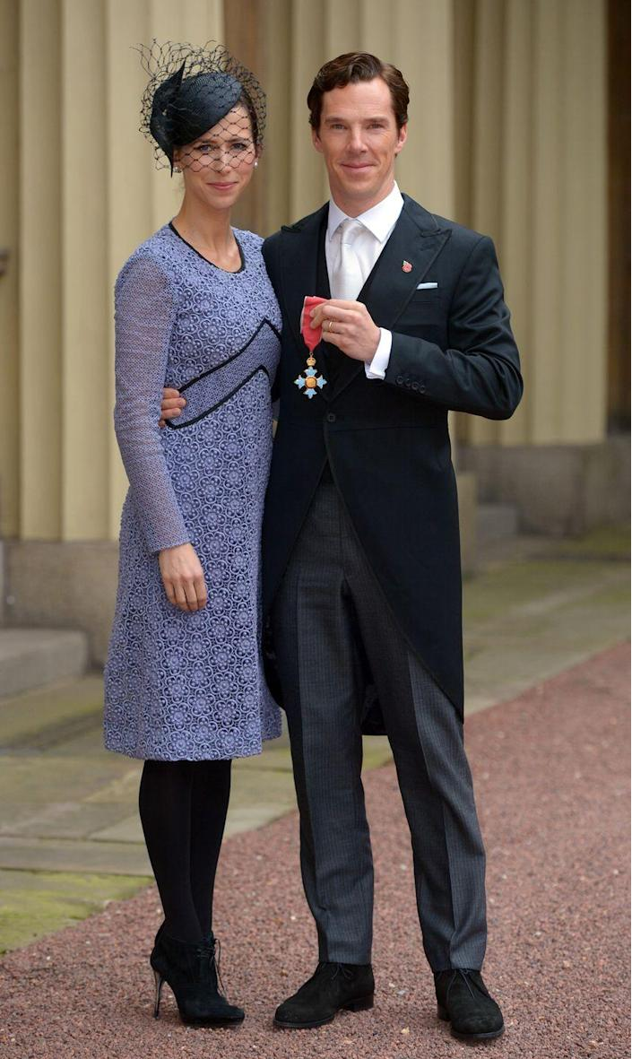 <p>Benedict Cumberbatch was bestowed with a Commander of the British Empire award in 2015. For the affair, the actor sported a traditional morning coat, while his wife, Sophie Hunter, wore a shift dress and netted fascinator. </p>