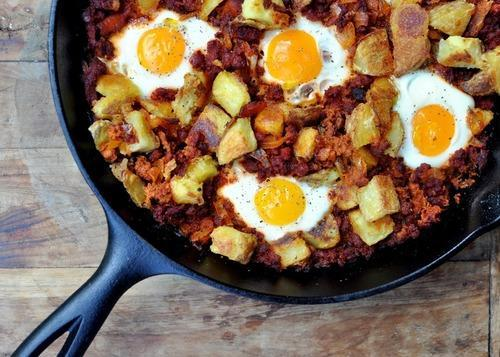 """<div class=""""caption-credit""""> Photo by: Food Swoon</div><div class=""""caption-title"""">Egg Chorizo Bake with Crispy Potatoes</div>Eggs are not always for breakfast and this recipe is proof. Any recipe accented with Cholula hot sauce is one we like. <br> <br> <b>Recipe: <a rel=""""nofollow noopener"""" href=""""http://www.ashleybrouwer.com/post/30846274363/egg-chorizo-bake-with-crispy-potatoes"""" target=""""_blank"""" data-ylk=""""slk:Egg Chorizo Bake with Crispy Potatoes"""" class=""""link rapid-noclick-resp"""">Egg Chorizo Bake with Crispy Potatoes</a></b> <br>"""