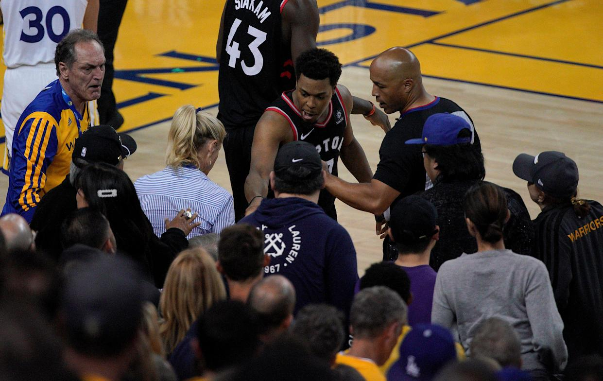 more photos e9e79 72e43 LeBron James reacts to Warriors part-owner pushing Kyle Lowry: 'Something  needs to be done'