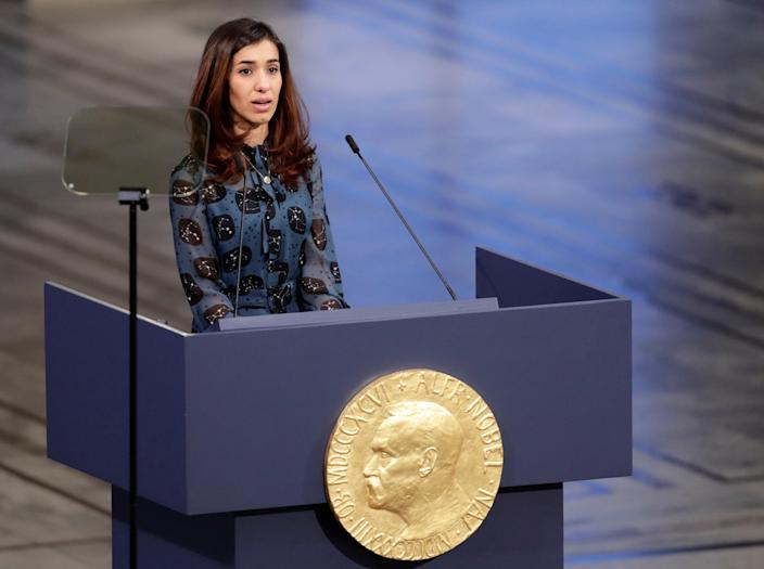 Nadia Murad, a Peace Prize laureate, delivers her speech during the Nobel Peace Prize Ceremony in Oslo Town Hall in Oslo, Norway, Dec. 10, 2018. (Photo: Reuters)