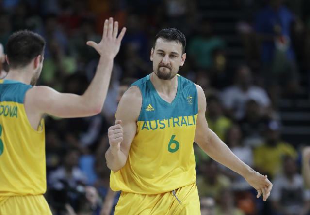 Andrew Bogut played in the Olympics for Australia's national team in 2004, 2008 and 2016. He was injured in 2012. (AP)