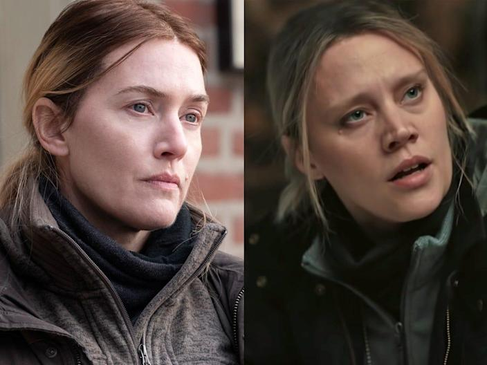 """A side by side composite of Kate Winslet in """"Mare of Easttown"""" and and Kate McKinnon """"Saturday Night Live."""""""