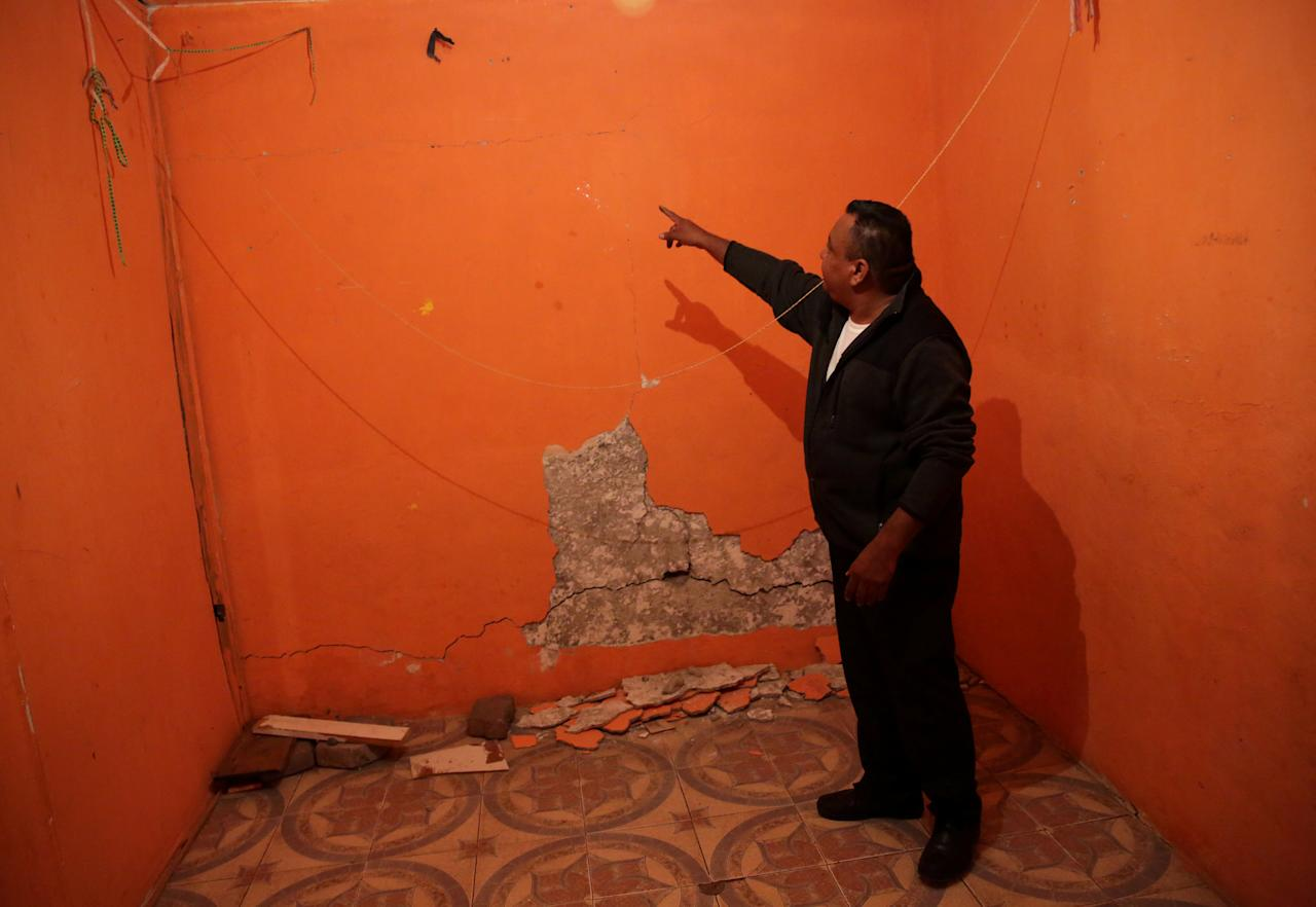 Jesus Gonzalez, 43, is pictured inside his damaged home, after the earthquake on September 19, in Santa Cruz Alcapixca neighbourhood in Mexico City, Mexico, October 18, 2017. REUTERS/Henry Romero