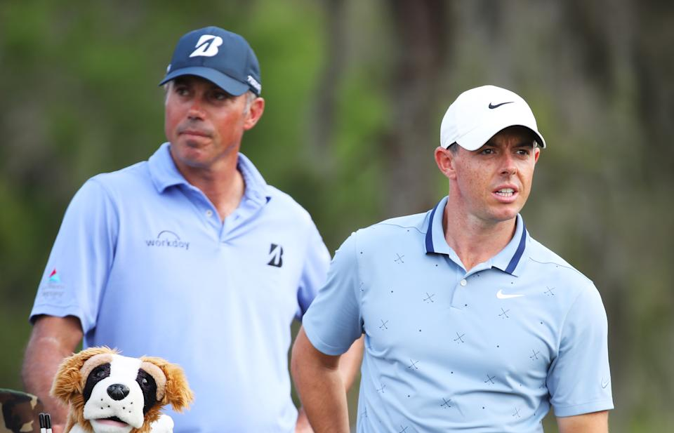 Rory McIlroy directed a playful jab at Matt Kuchar over a caddie controversy as the two received large sums of money. (Getty)
