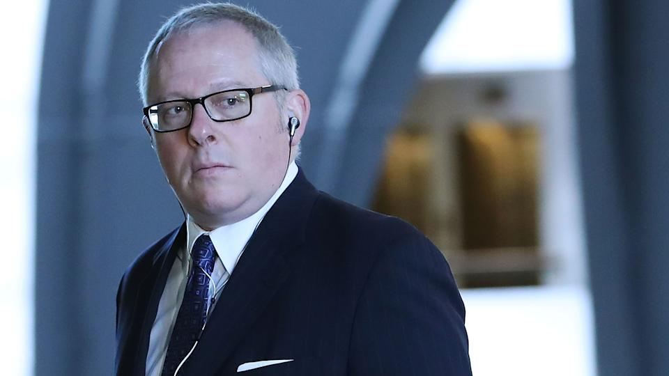 Former Trump campaign official Michael Caputo arrives at the Hart Senate Office building to be interviewed by Senate Intelligence Committee staffers, on May 1, 2018 in Washington, DC. (Mark Wilson/Getty Images)