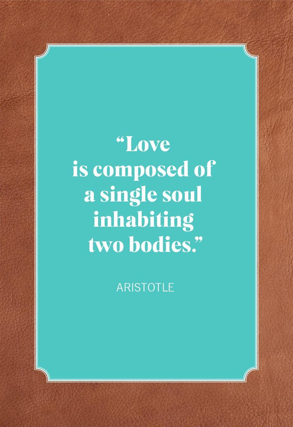 "<p>""Love is composed of a single soul inhabiting two bodies.""</p>"
