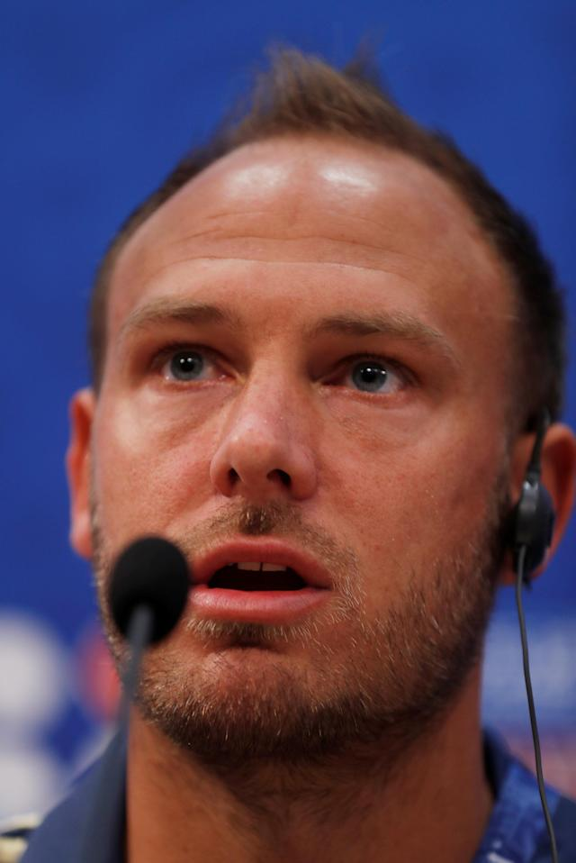 Soccer Football - World Cup - Sweden Press Conference - Nizhny Novgorod Stadium, Nizhny Novgorod, Russia - June 17, 2018 Sweden's Andreas Granqvist during the press conference REUTERS/Carlos Barria