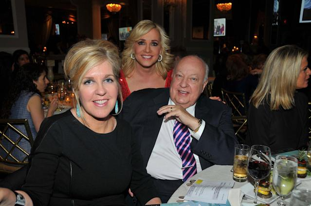 <p>Fox News chairman Roger Ailes and his wife, Elizabeth Tilson Ailes, attend a dinner of the New York Jewish Community Relations Council New York on April 2, 2014. Behind them is Jamie Colby, center, a Fox News Channel anchor. (Photo: Tim Boxer/Getty Images) </p>