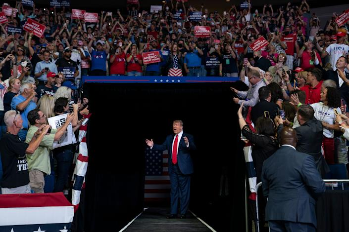 President Donald Trump arrives at a campaign rally at the BOK Center in Tulsa, Oklahoma, on June 20. (Photo: (AP Photo/Evan Vucci))
