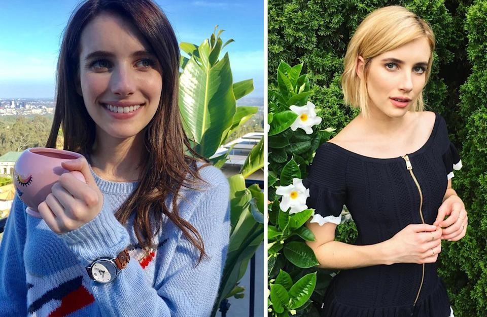 <p><strong>When:</strong> August 4<br>Emma ditched her lengthy brown hair for a chic blonde bob.<br><i>[Photo: Instagram]</i> </p>