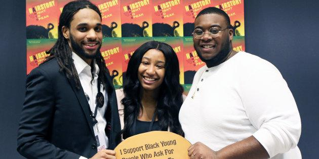 Richard Marcano (left), Smyrna Wright and Kishaun Lalor wrote or contributed to the HairStory report, an Ontario Child Advocate initiative to ensure the voices of Black youth in systems of care are heard.