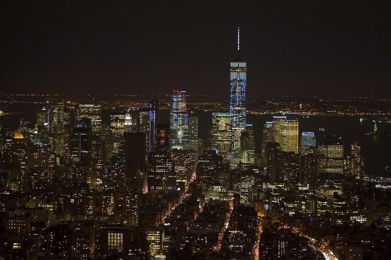 Downtown Manhattan and the One World Trade building are pictured from the observation level of the Empire State Building in the Manhattan borough of New York