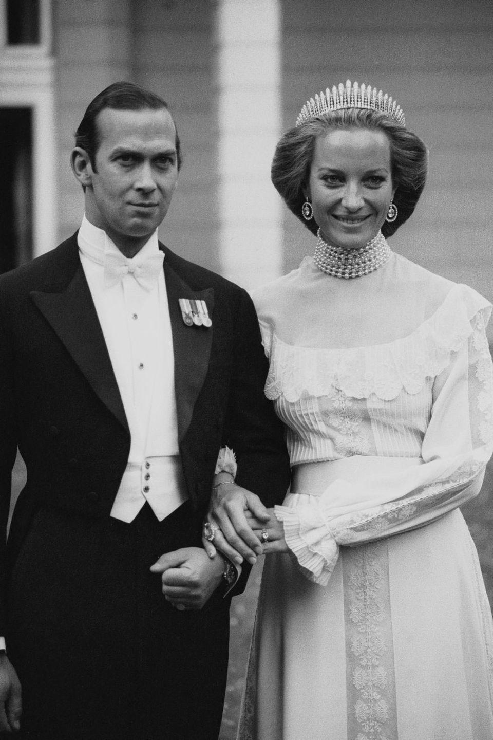 "<p><strong>Wedding date: </strong>June 30, 1978</p><p><strong>Wedding tiara: </strong>Princess Michael, also known as Marie Christine, only wore a tiara to a ball held after her wedding, not at her actual marriage ceremony. She chose <a href=""http://www.thecourtjeweller.com/2014/12/the-kent-city-of-london-fringe-tiara.html"" rel=""nofollow noopener"" target=""_blank"" data-ylk=""slk:the Kent City of London Fringe tiara"" class=""link rapid-noclick-resp"">the Kent City of London Fringe tiara</a> for the celebration, a piece which was originally given to Princess Michael's mother-in-law, Princess Marina, Duchess of Kent by the City of London on her wedding day in 1934. The tiara was left to her husband, Prince Michael, when Princess Marina died in 1968. It was also worn by Princess Alexandra of Kent and by Princess Michael's daughter, <a href=""https://www.townandcountrymag.com/style/jewelry-and-watches/a27457471/lady-gabriella-windsor-royal-wedding-tiara/"" rel=""nofollow noopener"" target=""_blank"" data-ylk=""slk:Gabriella Windsor"" class=""link rapid-noclick-resp"">Gabriella Windsor</a>, on their wedding days.</p>"
