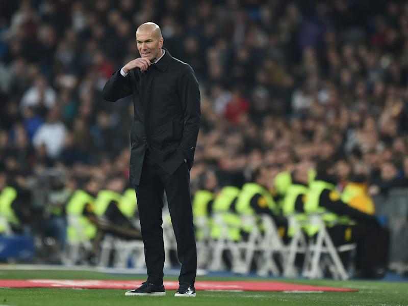 MADRID, SPAIN - FEBRUARY 06: Zinedine Zidane, manager of Real Madrid reacts during the Copa del Rey Quarter Final at Estadio Santiago Bernabeu on February 06, 2020 in Madrid, Spain. (Photo by Denis Doyle/Getty Images)