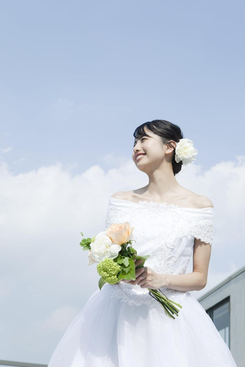 <p>Capture the details from down low and use the bright blue sky as your backdrop. It'll allow viewers to see your dress from a totally new perspective. </p>