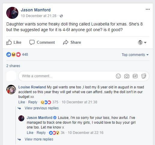 The Facebook exchange between Manford and his fans. (Credit: Facebook)