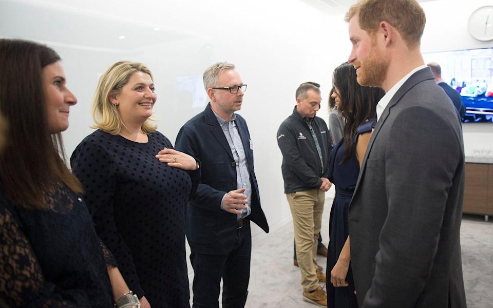 Bryony Gordon talks to the Duke and Duchess at an event to showcase programmes run by the Royal Foundation - Eddie Mulholland for The Telegraph