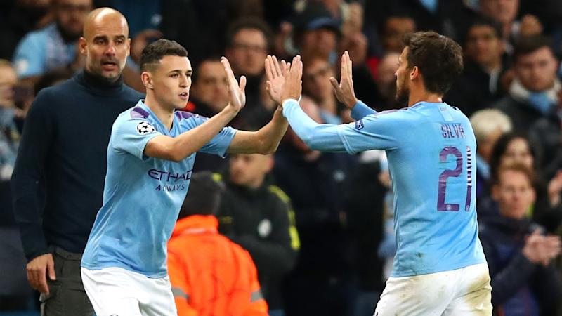 Phil Foden David Silva Pep Guardiola Manchester City 2019-20