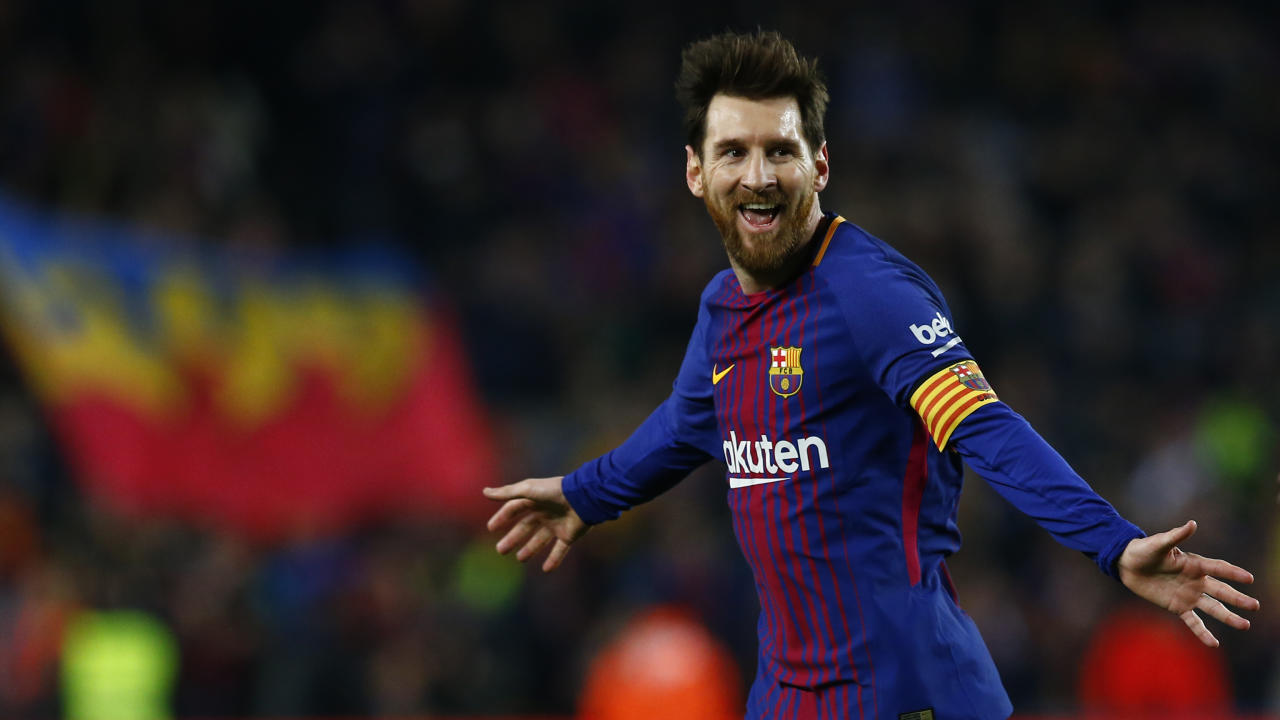 FC Barcelona's Lionel Messi celebrates after scoring during the Spanish La Liga soccer match between FC Barcelona and Girona at the Camp Nou stadium in Barcelona, Spain, Saturday, Feb. 24, 2018. (AP Photo/Manu Fernandez)