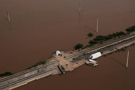 FILE PHOTO: An aerial view of flooding in Khuzestan province, Iran