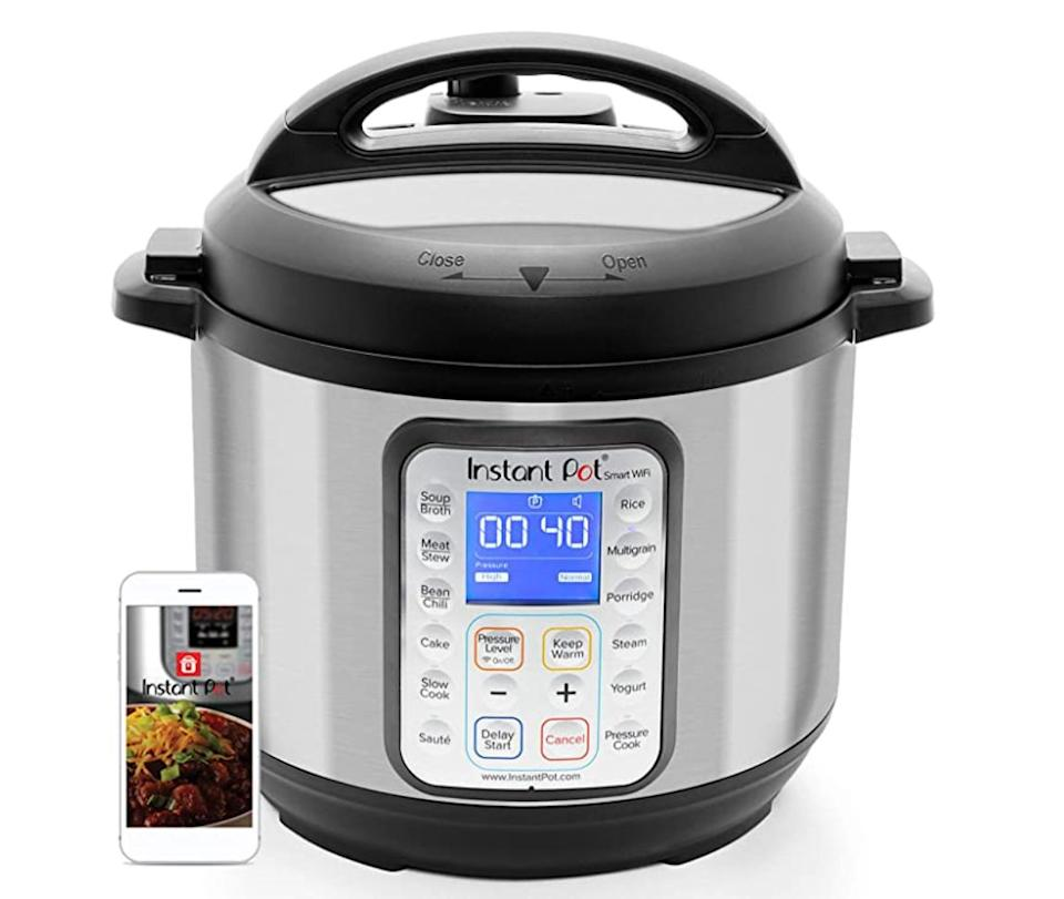 "The <a href=""https://amzn.to/2VbiGjw"" target=""_blank"" rel=""noopener noreferrer"">Instant Pot Smart WiFi 8-in-1 Electric Pressure Cooker</a> is large enough to serve up six people and can be controlled via the Instant Pot App or your smart speaker. Normally $150, <a href=""https://amzn.to/2VbiGjw"" target=""_blank"" rel=""noopener noreferrer"">get it on sale for $90 on Amazon</a> right now."
